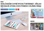 Článek - Sedlčanům chybí rychlý internet. Věslav Michalik (STAN) chce pomoci celému kraji
